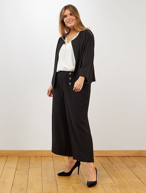 Pantaloni cropped con bottoni                             nero