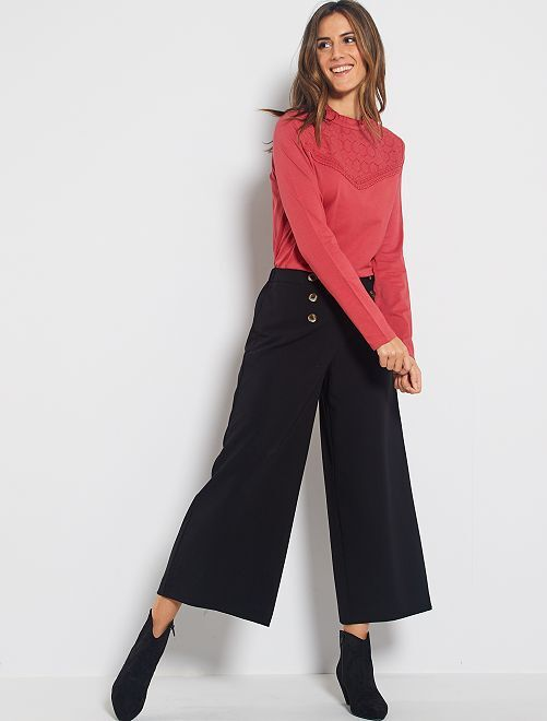 Pantaloni cropped tessuto fluido                             nero