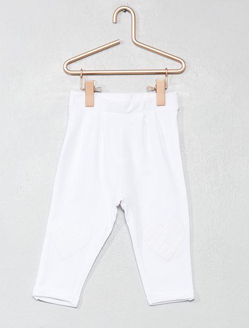 Pantaloni cuore ginocchia                                                                 bianco Neonata