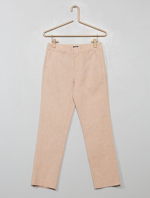 Pantaloni da completo in lino e cotone                                         BEIGE