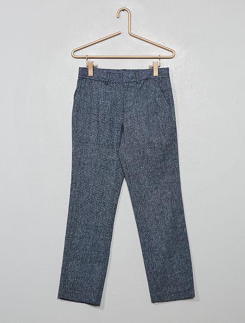 Pantaloni da completo in lino e cotone                                         blu