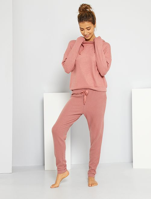 Pantaloni da notte in maglia a coste tipo lana                                                     ROSA