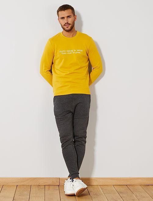 Pantaloni da tuta impunture e zip                             GRIGIO Uomo