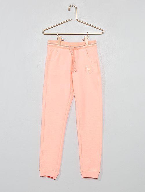 Pantaloni da tuta tessuto felpato con stampa                             ROSA Infanzia bambina