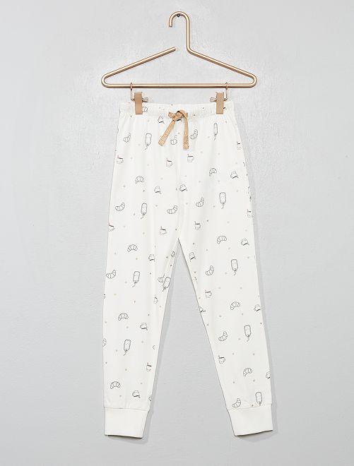 Pantaloni del pigiama stampati                                         BIANCO