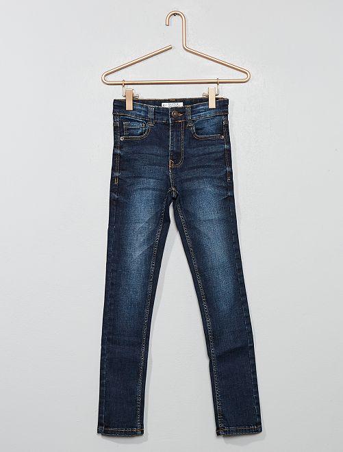 Pantaloni denim effetto delavé                                         BLU