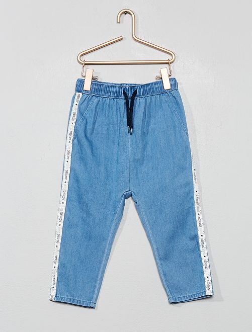 Pantaloni denim fluido strisce sui lati                             BIANCO Neonato