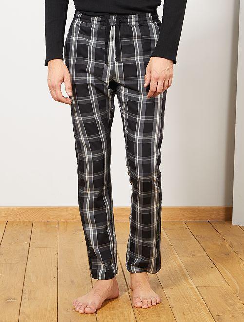 Pantaloni di pigiama a quadretti                                                     NERO
