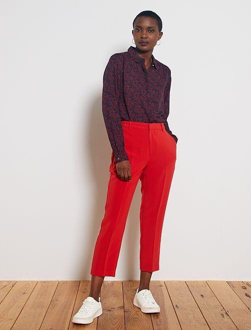Pantaloni dritti 7/8                                                     rosso pompiere