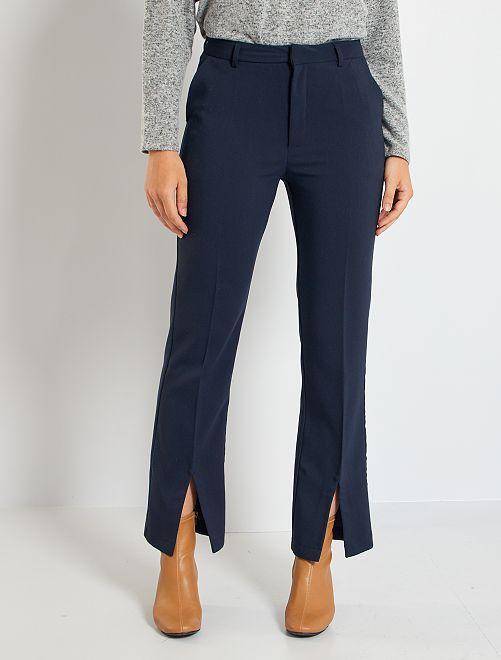 Pantaloni dritti effetto flare                             BLU