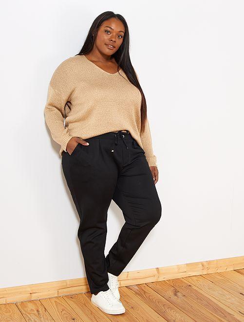 Pantaloni dritti elastico in vita                             nero