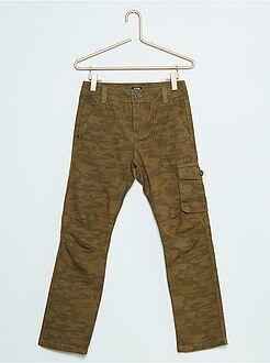 Pantaloni - Pantaloni dritti stile cargo canvas di cotone