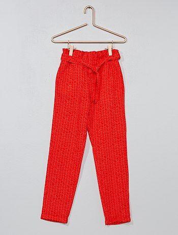 Pantaloni dritti tessuto fluido stampato - Kiabi