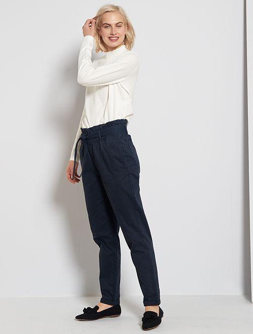 Pantaloni dritti vita con cintura                                         blu