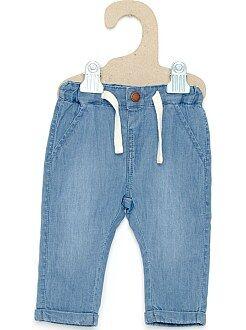 Pantaloni, jeans, leggings - Pantaloni effetto denim fodera jersey