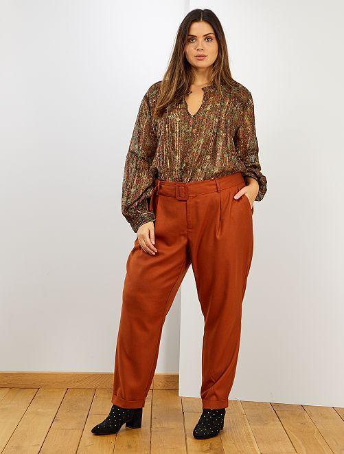 Pantaloni effetto lana                             ARANCIONE