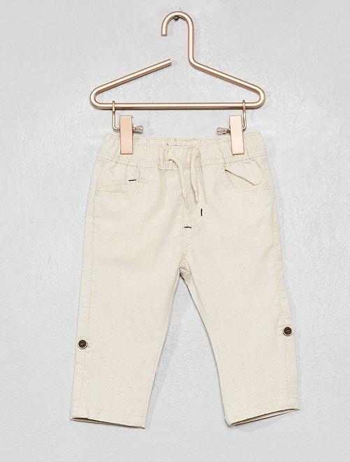 Pantaloni effetto lino                                                     BEIGE Neonato
