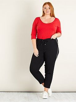 Taglie forti donna - Pantaloni fasce laterali - Kiabi