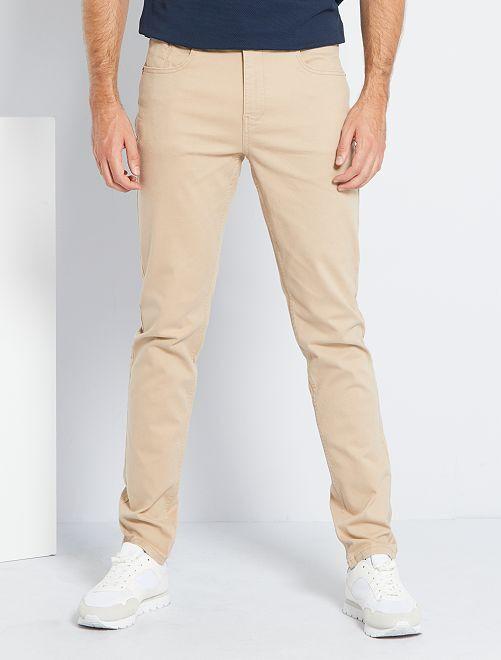 Pantaloni fitted 5 tasche L38 + 1 m 90                                                                             BEIGE