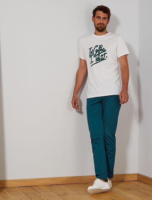 Pantaloni fitted 5 tasche L38 + 1 m 90                                                                 verde scuro