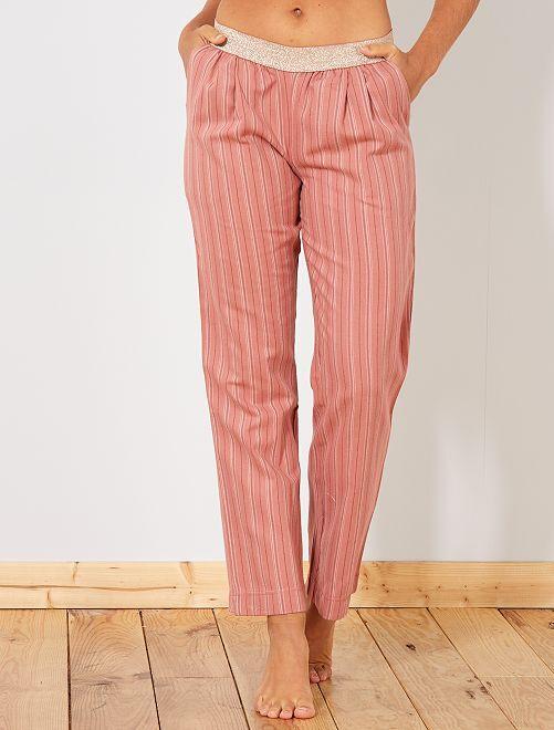 Pantaloni flanella                                                                 rosa a righe Intimo dalla s alla xxl