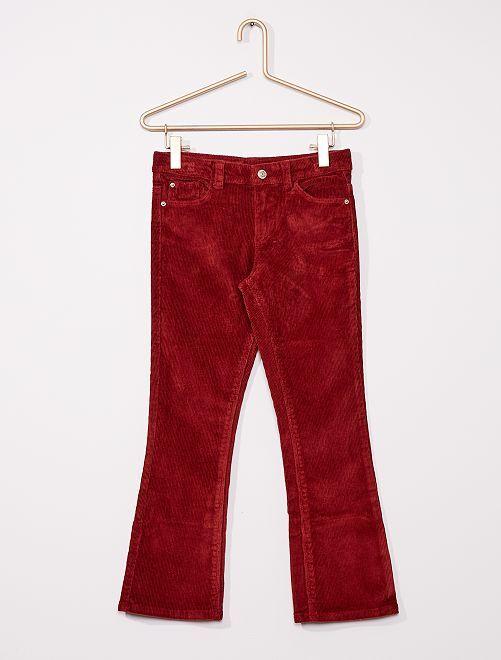 Pantaloni flare in velluto a coste                                         ROSSO