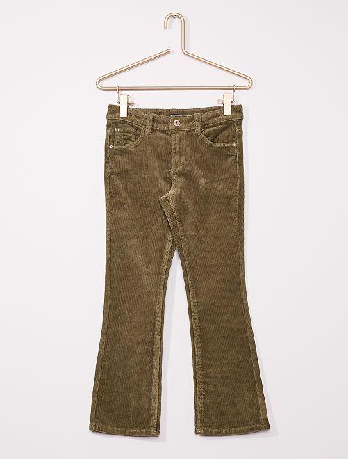 Pantaloni flare in velluto a coste                                         verde licheno