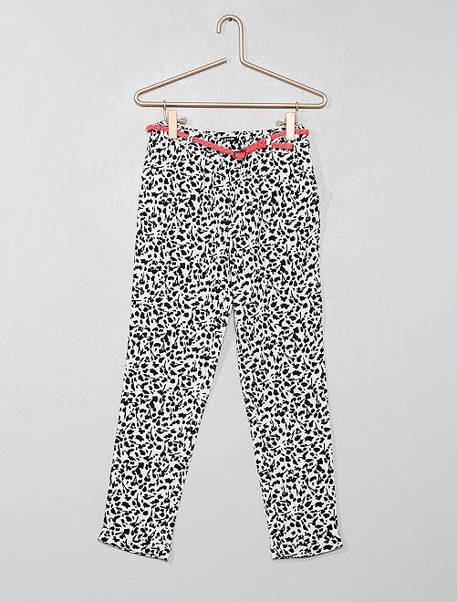 Pantaloni fluidi + cintura                                                                                         BIANCO Infanzia bambina