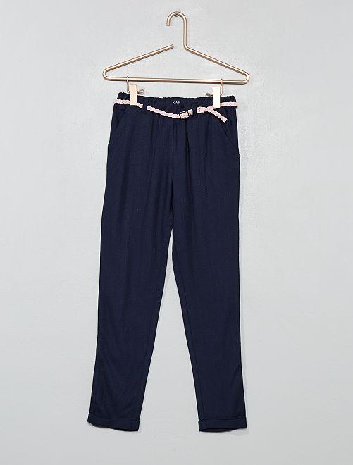 Pantaloni fluidi + cintura                                                                                         blu Infanzia bambina