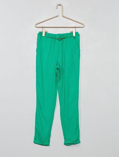 Pantaloni fluidi + cintura                                                                                         VERDE Infanzia bambina