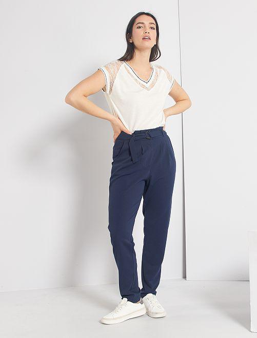Pantaloni fluidi con cintura                                         blu marine