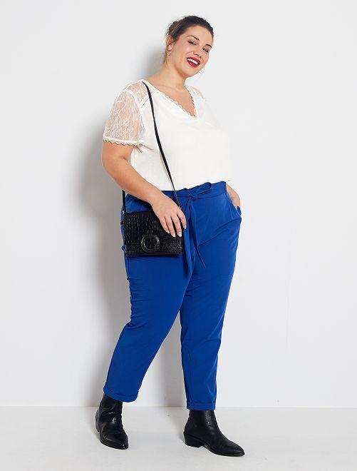 Pantaloni fluidi con cintura                                         blu