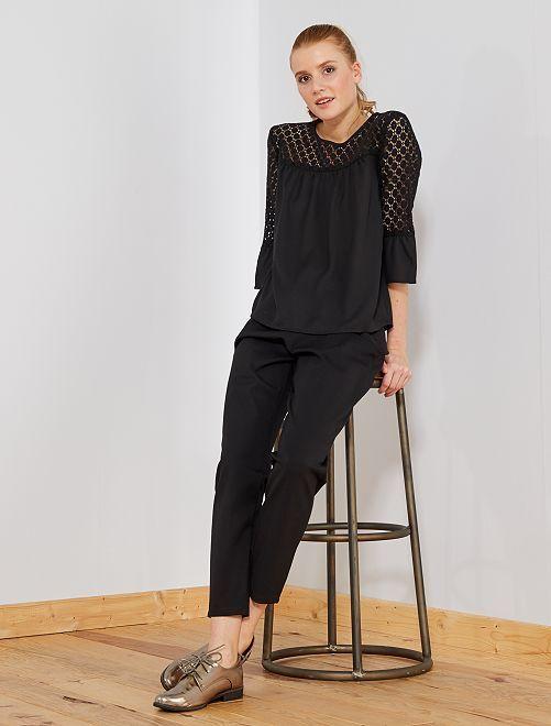 Pantaloni fluidi elastico in vita                                         nero Donna