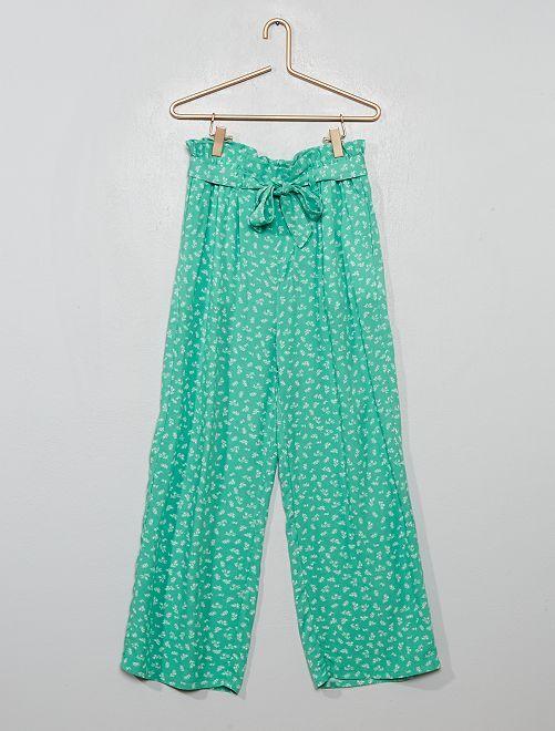 Pantaloni fluidi paperbag                                         VERDE