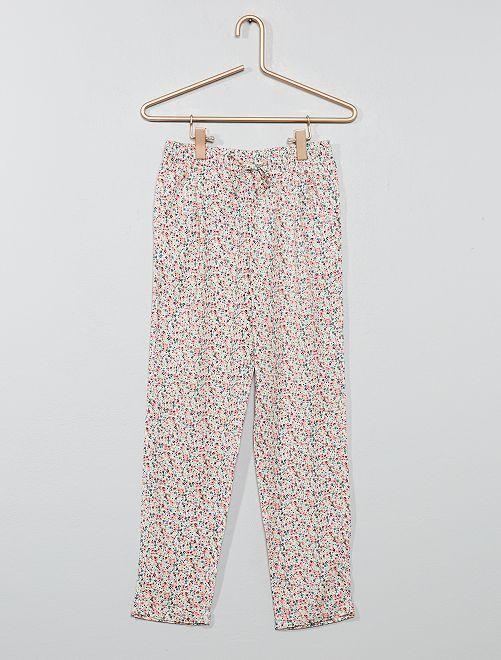 Pantaloni fluidi stampati                                                                             BIANCO Infanzia bambina