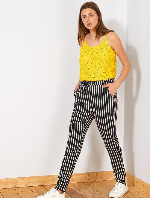 Pantaloni fluidi stampati                                                                 BLU Donna