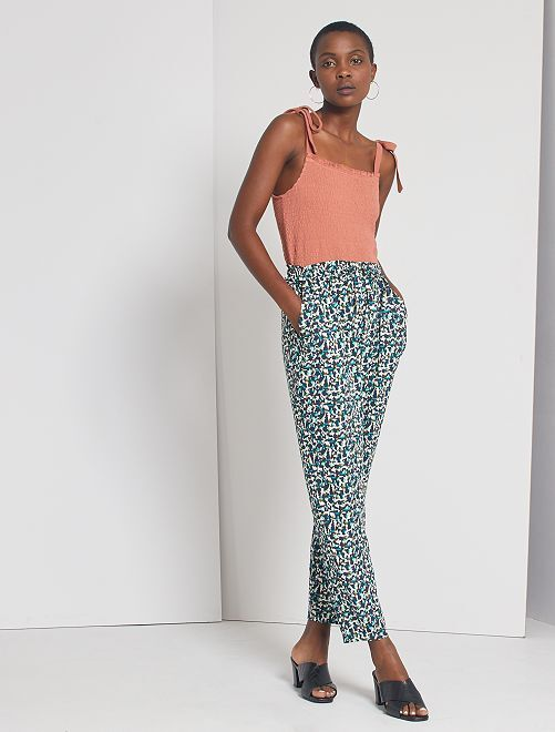 Pantaloni fluidi stampati                                                                                                                                         BLU