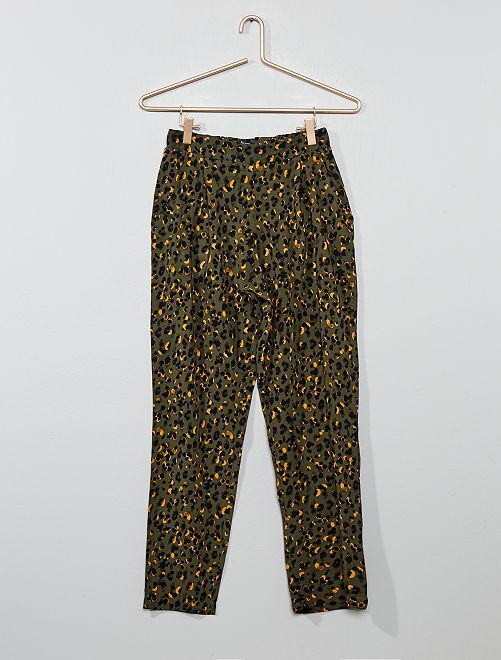 Pantaloni fluidi stampati                                         KAKI Ragazza