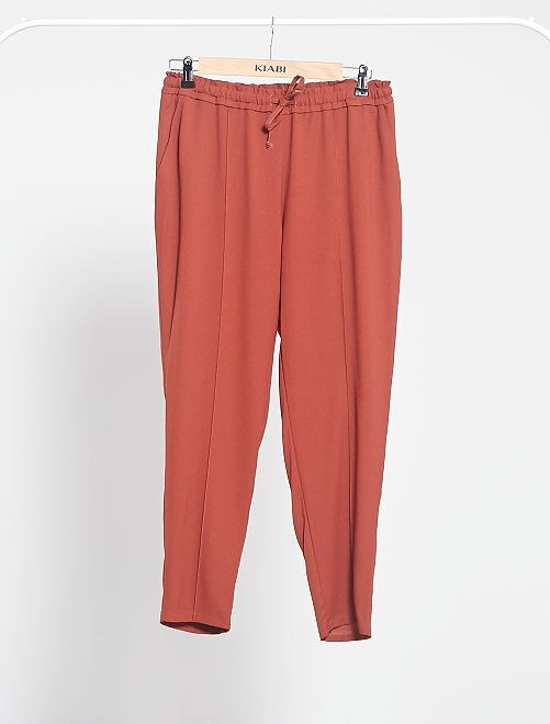 Pantaloni fluidi stampati                                                                                                                                         MARRONE