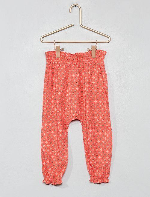 Pantaloni fluidi stampati                                                                 ROSA Neonata