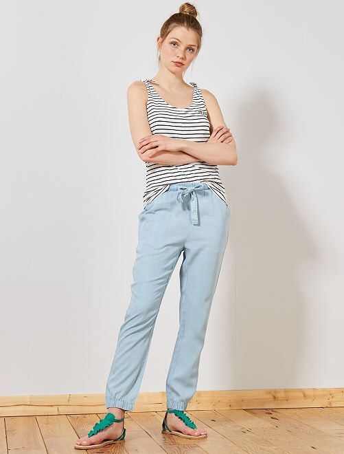 Pantaloni fluidi tencel                     BLU Donna