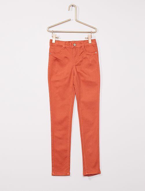 Pantaloni in cotone stretch per bambini di corporatura esile                                                                 ARANCIONE