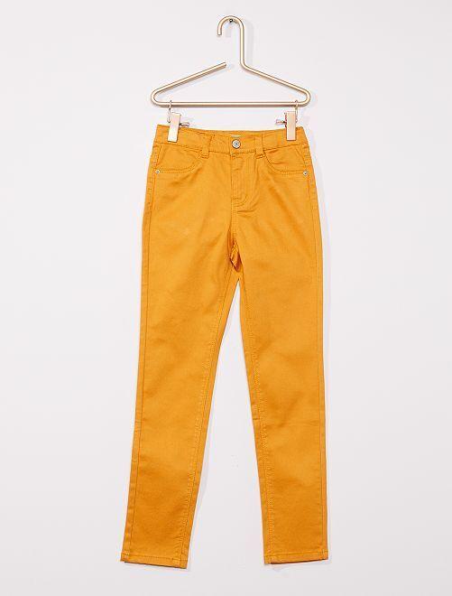 Pantaloni in cotone stretch per bambini di corporatura esile                                             GIALLO