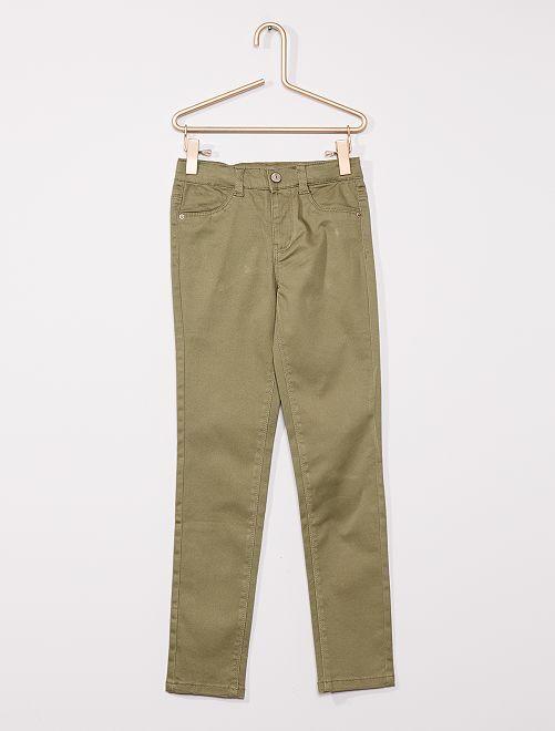 Pantaloni in cotone stretch per bambini di corporatura esile                                                     verde licheno