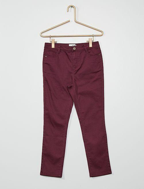Pantaloni in cotone stretch                                                                             prugna