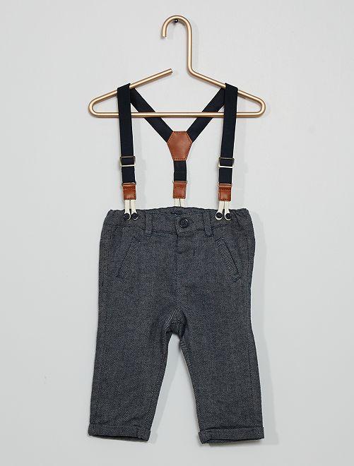 Pantaloni in flanella con bretelle                             GRIGIO