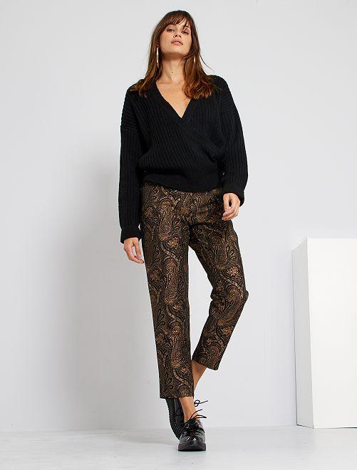 Pantaloni in jacquard lucido                             MARRONE