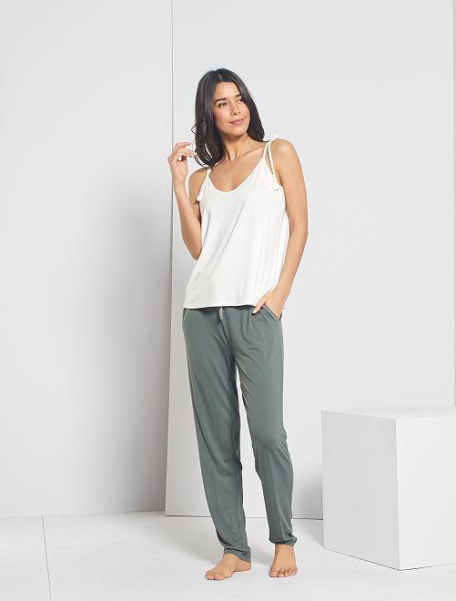 Pantaloni in jersey tinta unita                                         grigio verde
