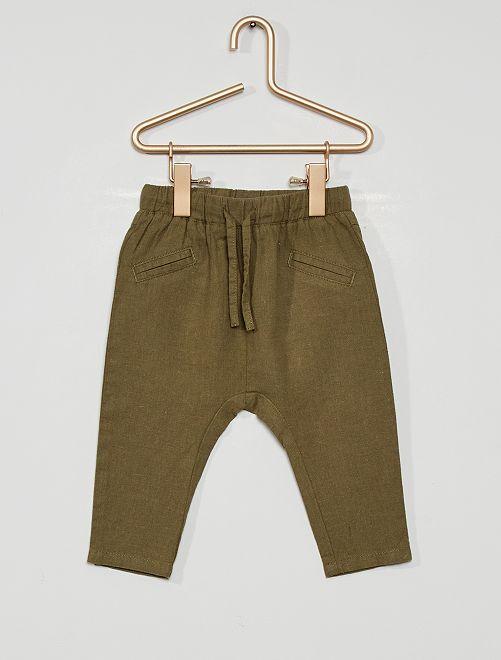 Pantaloni in lino                             verde licheno