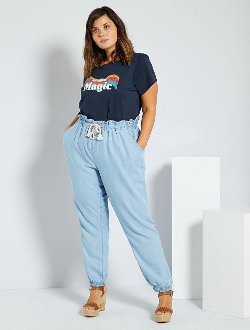 Pantaloni in lyocell                                         BLU